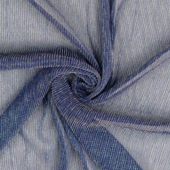 Musselin Stoff  zerknittert blau glänzend