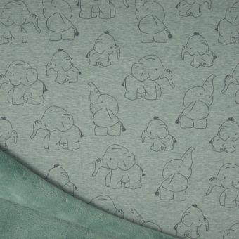 Sweatshirtstoff Alpfleece-Rückseite Elefanten grün