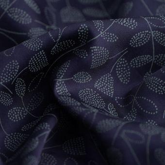 Rosenblüten-Satinstoff Floral marineblau