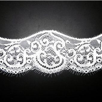 Spitzenband Polyester Blumen 77mm Weiß