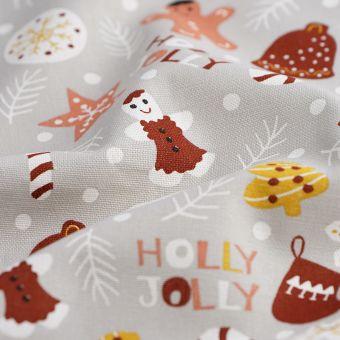 Weihnachtsstoff holly jolly bunt