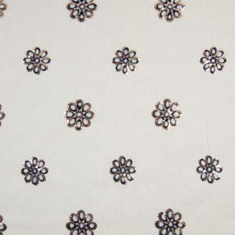 Baumwoll- Polyester Stoff Blumen blau