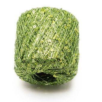 Glänzendes Strickgarn Pluie d'Etoiles grün - Plassard
