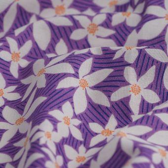 Cretonne Bio Baumwolle Blumen violet