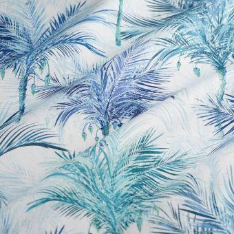 Dicker Baumwollstoff Palmen blau