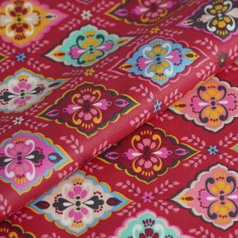 Beschichtete Cretonne Folk Blumen rosa
