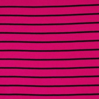Doppelripp Viskose Pink/Schwarz