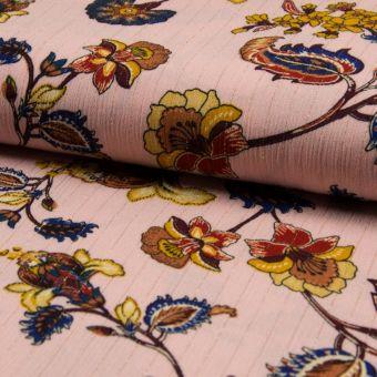 Popeline Indische Viskose Knittereffekt Rosa