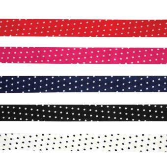 5 Schrägbänder aus Baumwolle 1cm x 1m Punkte