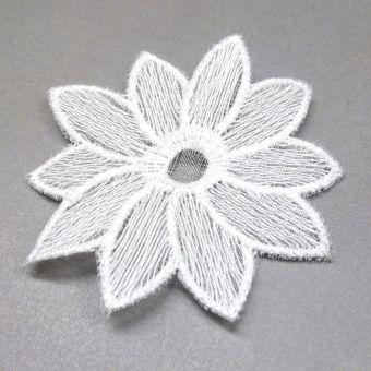 Besticktes weißes Baumwollband Blumen - made in France