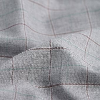 Gabardine Polyester Baumwolle recyclet Karos grau