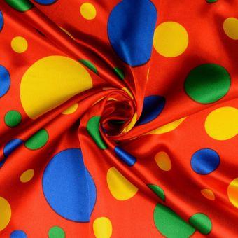 Satinstoff Karneval Punkten rot