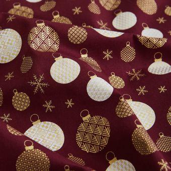 Cretonne Weihnachtskugeln Geo burgunderrot