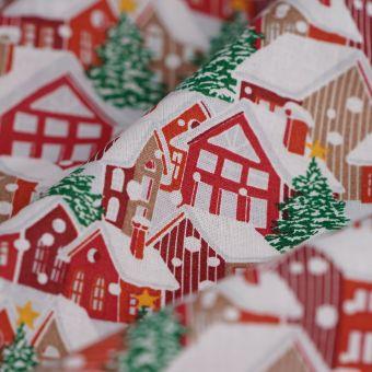 Weihnachtsstoff Hütten Tannen
