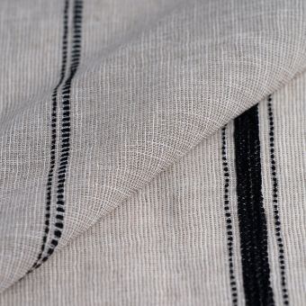 Voilestoff Nairobi beige Streifen schwarz