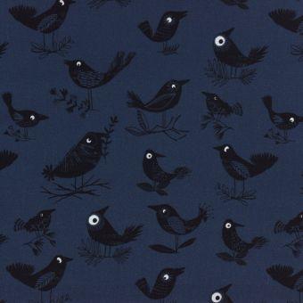 Popeline Baumwolle Dashwood Studio - schwarze Vögel dunkelblau