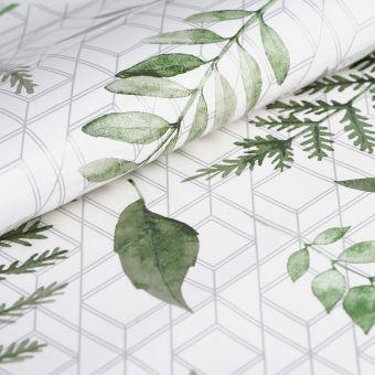 Wachstuch Blätter Grün Weiß 140cm
