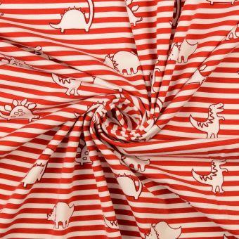 Jersey Bio Baumwolle Dinosaurier Streifen