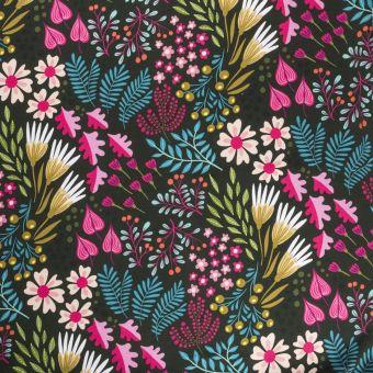 Sweatshirtstoff French Terry Bio Flower Field Grün - Albstoffe