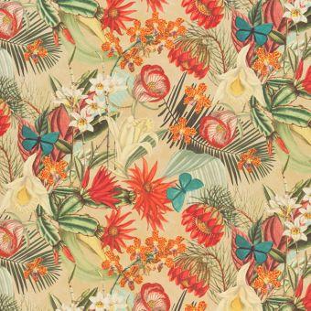Samtstoff Schmetterlinge Blumen