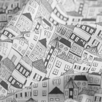 Cretonne Baumwolle Häuser anthrazit