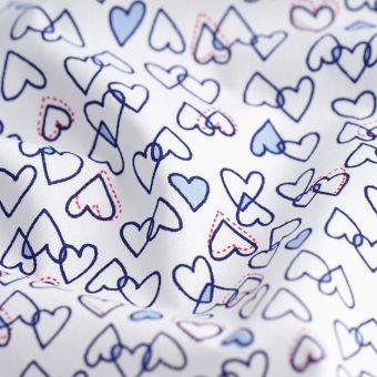 Perkal Bio Baumwolle Herz Blau