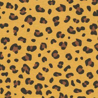 Ottoman-Stoff Leopard Gelb