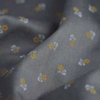Satinstoff Baumwolle Blumen Grau
