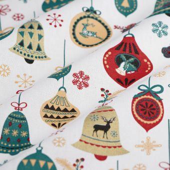 Baumwollstoff Weihnachten Glocken