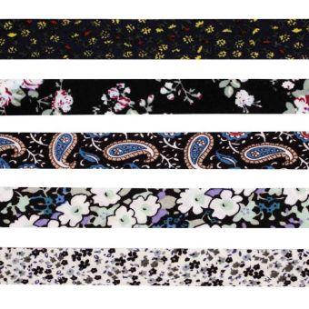 5 Schrägbänder aus Baumwolle 1cm x 1m Blumen weiss schwarz