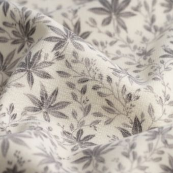 Polarstoff Alpfleece Blumen grau