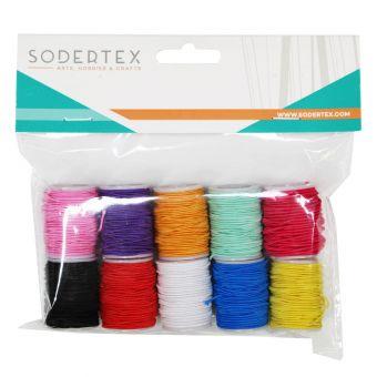 Set aus 10 Polyester-Gummibänder 0,5mm x 5m 10 Farben
