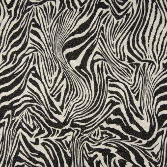 Strickstoff glänzend Zebra Schwarz