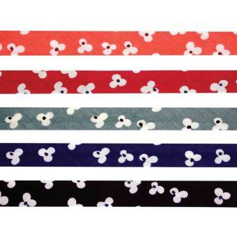 5 Schrägbänder aus Baumwolle 1cm x 1m Blumen