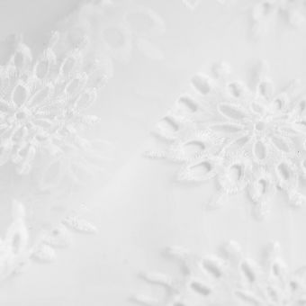 Organza-Stoff Polyester Ecru Blumen