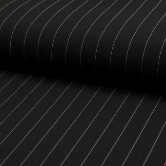 Gabardine Polyester Stretch schwarz breite Streifen