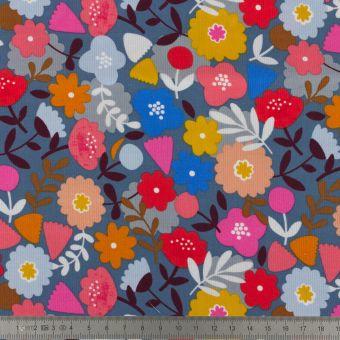 Kord Samtstoff Dashwood Blumen blau