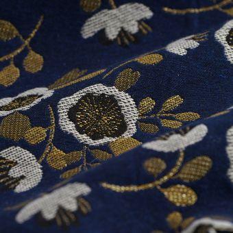 Jacquardstoff Blumen Blau