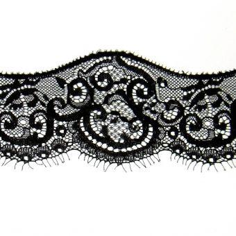 Spitzenband Polyester Blumen 77mm  Schwarz