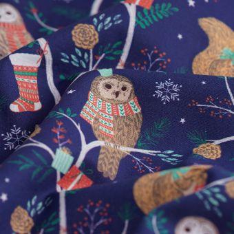 Weihnachtsstoff Eulen Blau