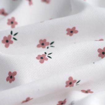 Sweatshirtstoff French Terry Blumen Weiß