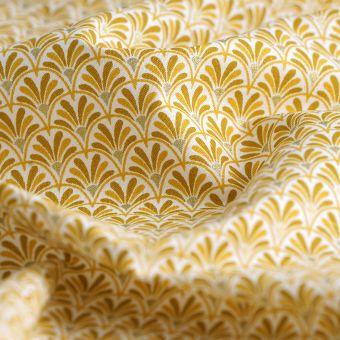 Baumwollstoff Fächermuster Gelb
