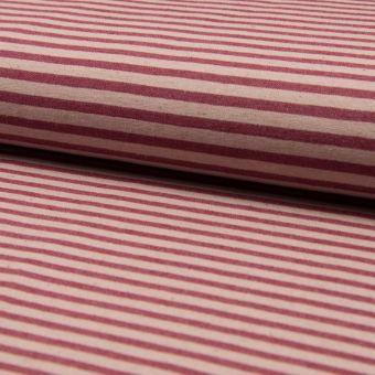 Bengaline Stretch Leinen Streifen rot ecru