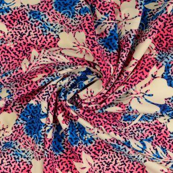 Stoff für Badeanzug Blumen rosa