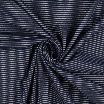 Jersey Baumwolle Streifen blau silberfarben
