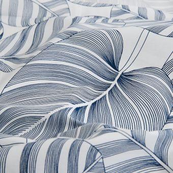 Bio Baumwollperkal Palmen dunkelblau