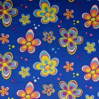Satinstoff Karneval Blumen blau